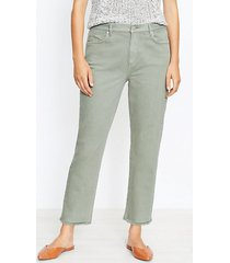 loft curvy frayed high rise straight crop jeans in soft moss
