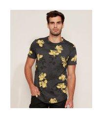 camiseta masculina slim estampada floral manga curta gola careca cinza mescla escuro