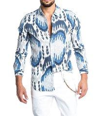 hombre algodón soft pañuelo con estampado integral frente con botones y estampado camisa