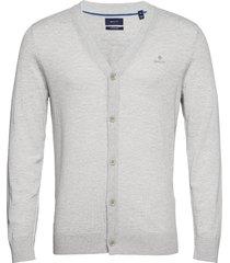 d1. cotton silk v-cardigan stickad tröja cardigan grå gant