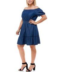 planet gold trendy plus size cotton denim off-the-shoulder dress