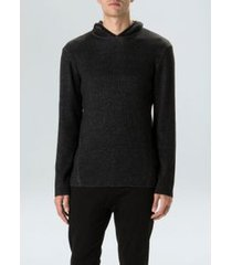 sweater tricot ribbed hood-preto