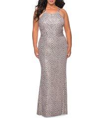 plus size women's la femme sequin pattern trumpet gown, size 24w - pink