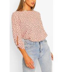 polka dot bow sleeve woven blouse, nude