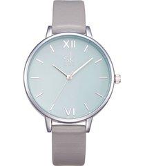 orologio al quarzo impermeabile alla moda semplice orologio da polso rotondo in pelle con numeri romani per le donne