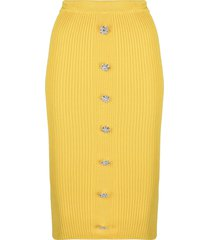 giuseppe di morabito fine-ribbed midi skirt - yellow