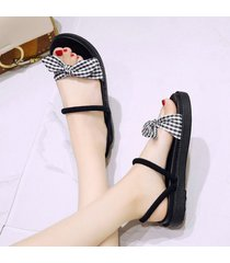 sandalias de verano para mujer con bowknot planas con zapatillas sandalias de dos vías