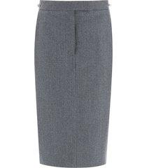 thom browne pencil skirt in wool flannel