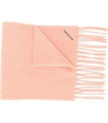 acne studios cachecol com franjas e logo bordado - rosa