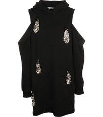area hammered pendant cold shoulder hoodie dress