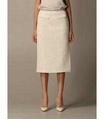 blumarine skirt blumarine midi skirt in bouclé fabric with jewel detail