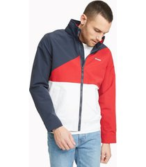 tommy hilfiger men's essential colorblock yacht jacket navy blazer / bright white - xs
