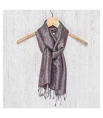 rayon and silk blend scarf, 'grey purple bouquet' (thailand)