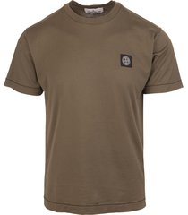 military-green cotton logo-patch cotton t-shirt