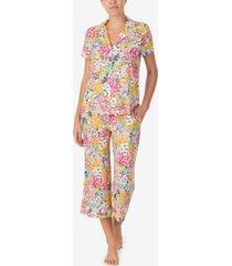 kate spade new york women's short sleeve knit cropped pant notch pajama set