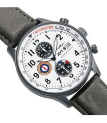 avi-8 men's hawker hurricane chronograph gray genuine leather strap watch 42mm