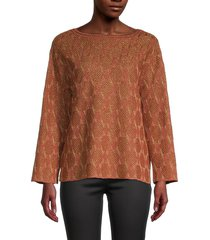m missoni women's metallic patterned sweater - orange - size m