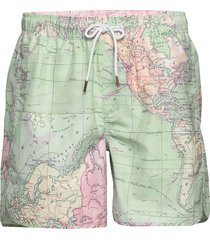 swim shorts sandhamn map badshorts grön dedicated