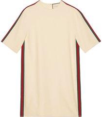 gucci stretch viscose tunic dress with web - white