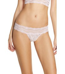 women's b.temptd by wacoal lace kiss thong, size medium - grey