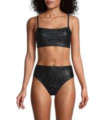 dkny women's leopard-print bikini top - black - size s