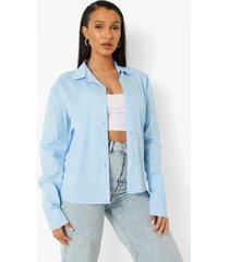 baggy blauwe katoenen poplin blouse, blue
