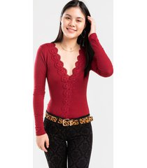 kellie ribbed crochet bodysuit - red