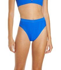 women's l space french cut swim briefs, size medium - blue