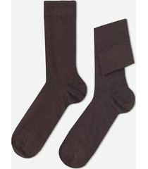 calzedonia short wool and cotton socks man brown size 44-45