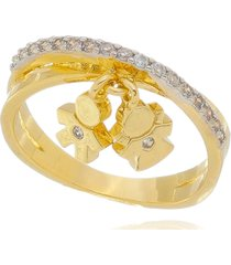 anel drusi cravejado com pingente casal dourado