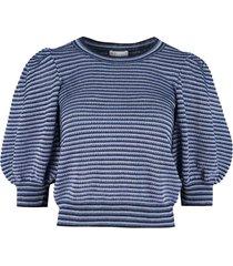 red valentino striped knit lurex top