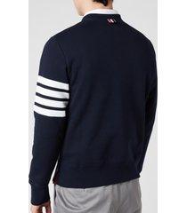 thom browne men's engineered 4-bar stripe loopback sweatshirt - navy - 2/m