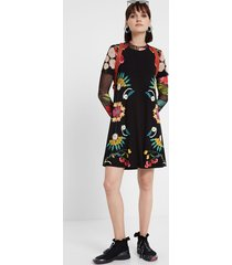 floral t-shirt dress - black - l