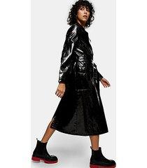 black patent pu crocodile trench coat - black