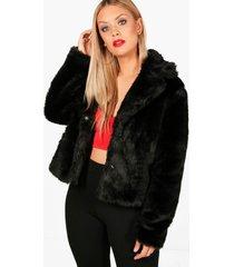 plus faux fur jas, zwart