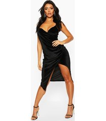 casey velvet wrap over strappy midi dress, black