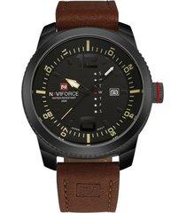 reloj hombre naviforce 9063 deportivo cuarzo negro amarillo