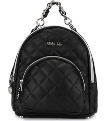 abel & lula quilted faux leather backpack - black