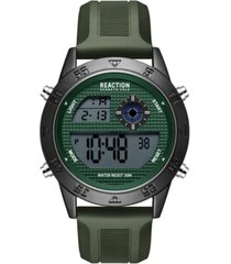 kenneth cole reaction men's dress sport round green silicon strap watch 47mm