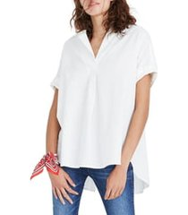 women's madewell courier button back shirt, size large - white