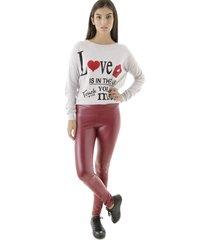 calã§a legging malha com leve brilho preta - vermelha aha - bordã´/vinho - feminino - dafiti