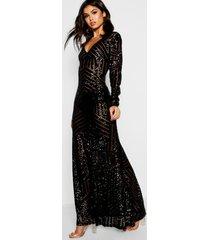 boutique maxi bruidsmeisjes jurk met pailletten en lange mouwen, zwart