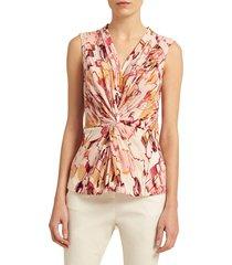 donna karan women's printed knot-front top - blush - size xs