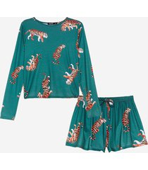 womens drive me wild tiger top and shorts pajama set - emerald
