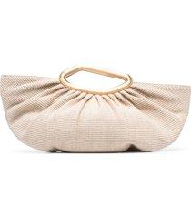 cult gaia jada straw clutch bag - neutrals
