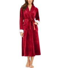 sesoire faux-fur-trim long french fleece robe