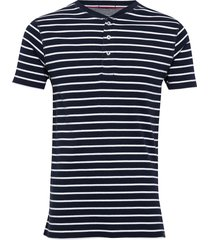 striped rib granddad s/s t-shirts short-sleeved blå lindbergh
