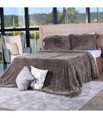 cobertor slim peles queen com porta travesseiro  grime - tessi - estampado - dafiti