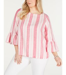 charter club plus size linen striped top, created for macy's