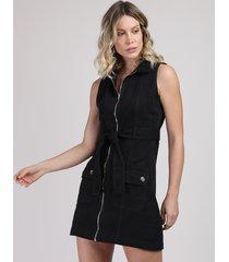 vestido de sarja feminino curto com faixa para amarrar sem manga preto